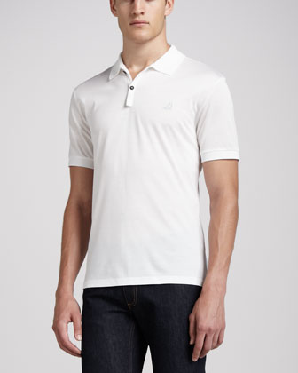 Short-Sleeve Sneaker Polo, White