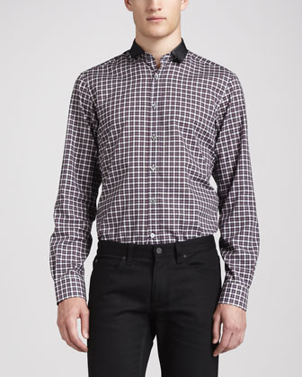 Grosgrain-Collar Check Shirt, Black/Red