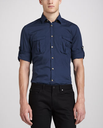 Two-Pocket Military Shirt, Slate
