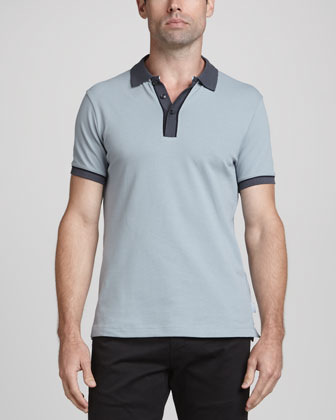 Tipped Short-Sleeve Polo, Light Gray