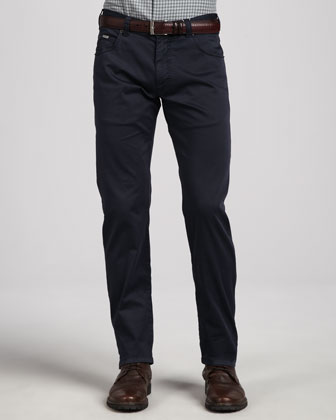 5-Pocket Twill Pants, Navy