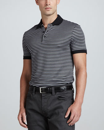 Striped Knit Polo, Black/Silver