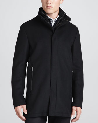 Wool Car Coat, Black