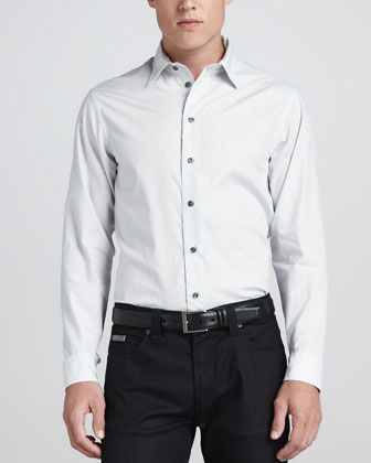 Textured Hairline-Stripe Shirt, White/Blue