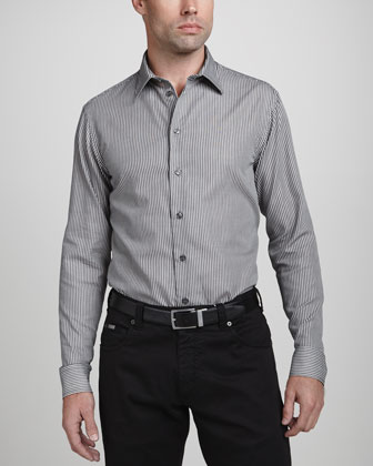 Textured Stripe Dress Shirt, Black