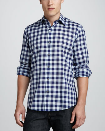 Sampson Check Sport Shirt, Blue