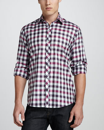 Zerek Check Sport Shirt, Purple/Pink/Black