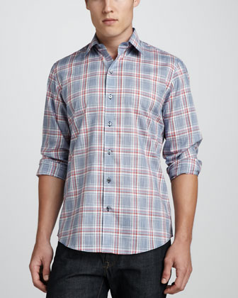 Kraig Multi-Check Sport Shirt, Blue