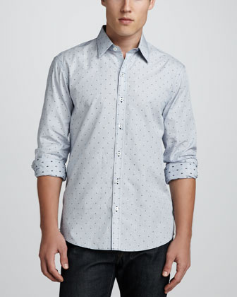 Alcala Dot-Print Sport Shirt, Light Blue