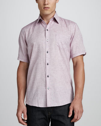 Korb Short-Sleeve Linen/Cotton Camp Shirt