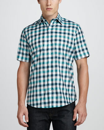 Minamoto Short-Sleeve Check Shirt