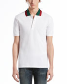 Pique Polo with Green/Red Collar