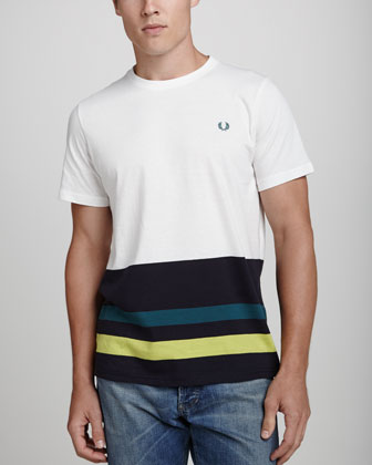 Stripe-Hem Crewneck Tee, Cream/Navy/Yellow