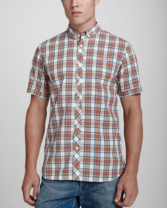 Short-Sleeve Slim-Fit Shirt, White/Red/Lime Plaid