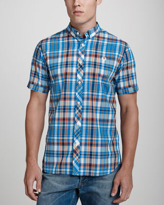 Short-Sleeve Slim-Fit Shirt, Bright Blue Check