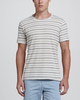 Variegated-Stripe Crewneck Tee