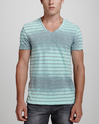 Dip-Dyed Striped V-Neck Tee, Gray/Mint