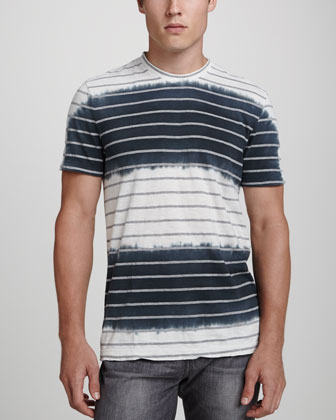 Dip-Dyed Striped Tee, Charcoal/Natural