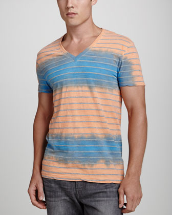 Dip-Dyed Striped V-Neck Tee, Cobalt/Orange