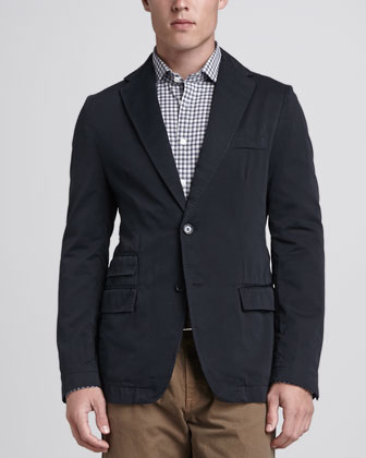 Lewis Cotton Blazer, Navy