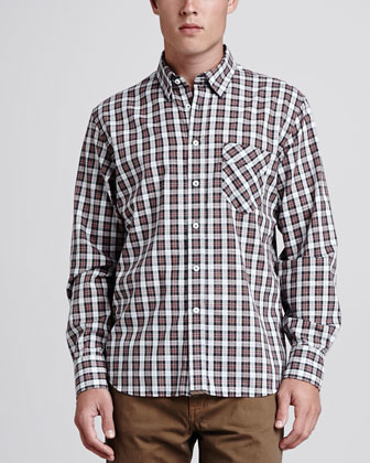 Walland Sport Shirt, Red/Black Plaid