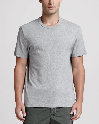 Short-Sleeve Crewneck Tee, Heather Gray