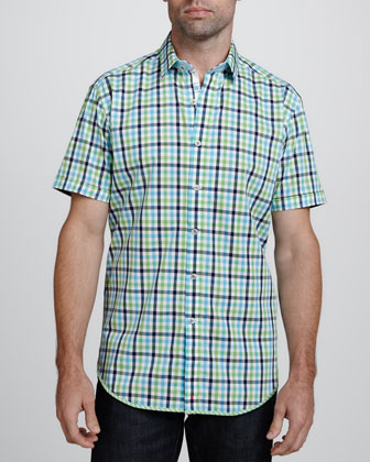 Playa Paraiso Short-Sleeve Sport Shirt, Green