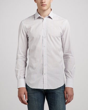 Charles Striped Dress Shirt, White/Pink/Blue