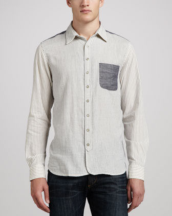 3/4-Placket Pocket Shirt, White