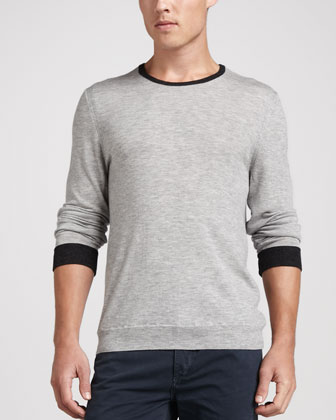 Lightweight Crewneck Sweater, Charcoal