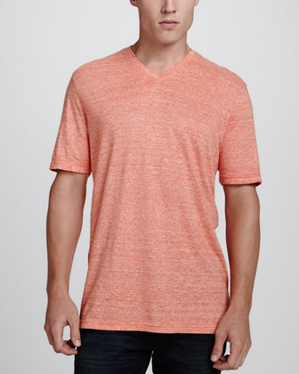 Heathered V-Neck Tee, Orange