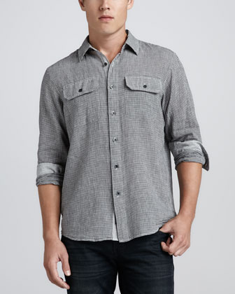 Micro-Checked Linen/Cotton Shirt, Black