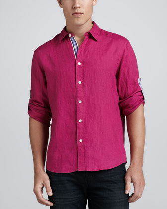 Linen Shirt with Ribbon Trim, Fuchsia