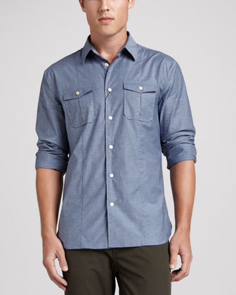 Double-Pocket Sport Shirt, Blue