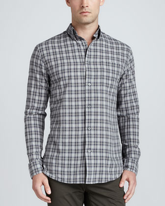 Plaid Patch Sport Shirt