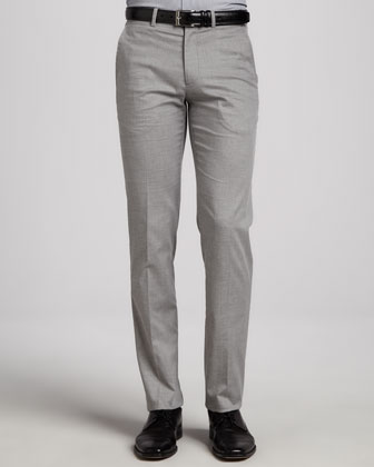 Textured Dress Pants, Gray
