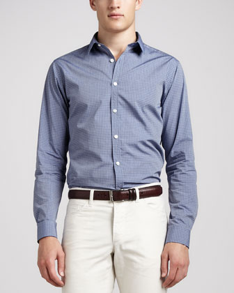 Small-Check Sport Shirt, Blue