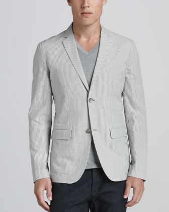 Two-Button Seersucker Jacket, Gray