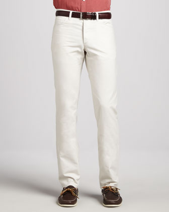 Canvas 5-Pocket Pants, Cream