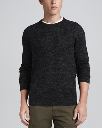 Melange Crewneck Sweater, Black