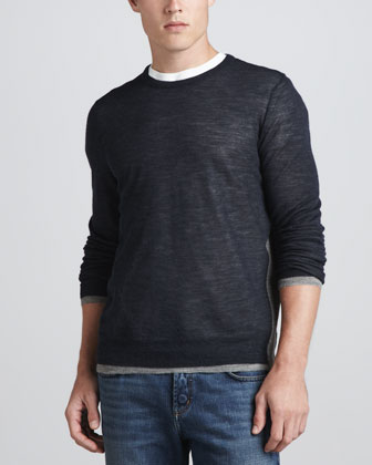Alpaca-Blend Crewneck Sweater, Navy