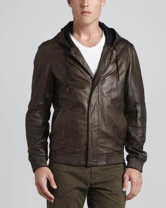 Hooded Leather Bomber Jacket, Dark Brown