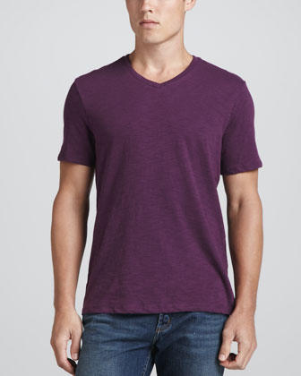 V-Neck Slub Tee, Purple