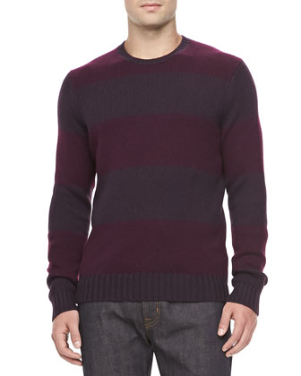 Cashmere Rugby Stripe Sweater, Purple