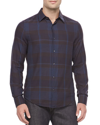 Plaid Sport Shirt, Navy