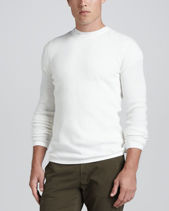 Long-Sleeve Thermal Sweater, White