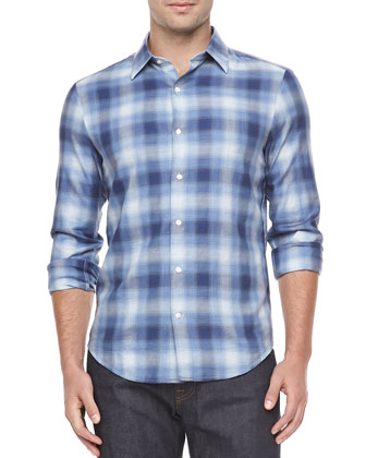 Shadow Plaid Sport Shirt, Blue