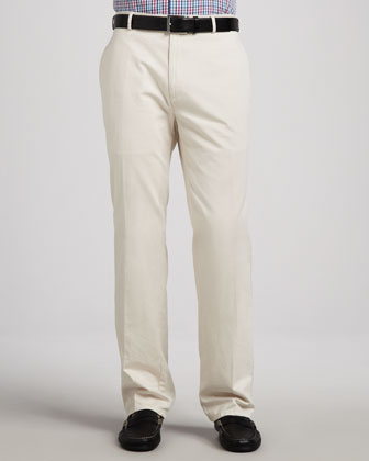 Straight Cotton-Twill Pants, Stone