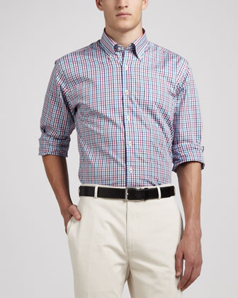 Multi-Check Sport Shirt, Pink