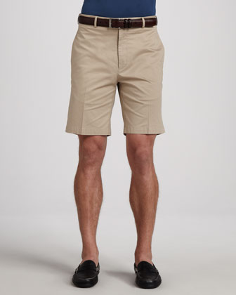 Lisle-Knit Cotton Polo & Stretch Twill Shorts